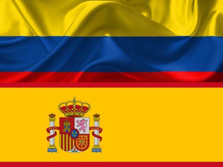 コロンビアとスペイン国旗