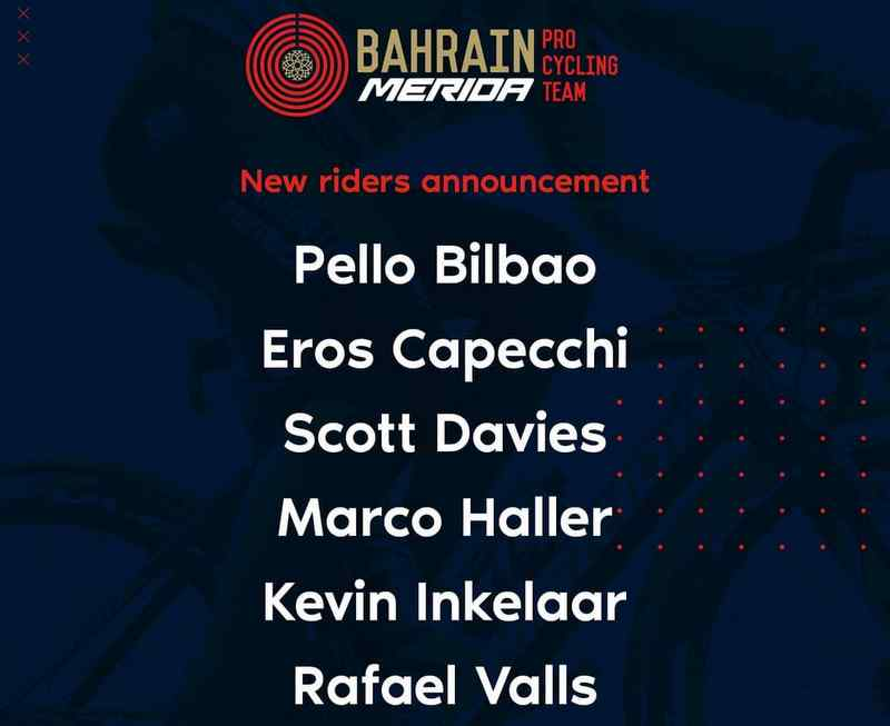 AstanaのビルバオなどがBahrain Meridaへ移籍へ