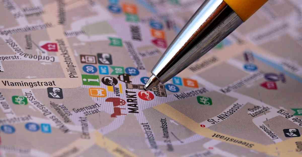 ベルギーの通りの地図