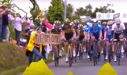 ツール・ド・フランスの女性観客と落車